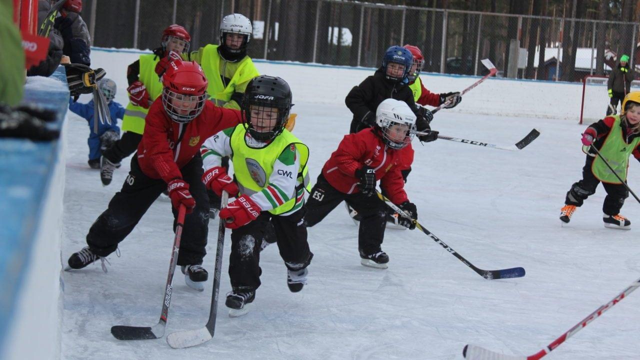 Barn lirar hockey